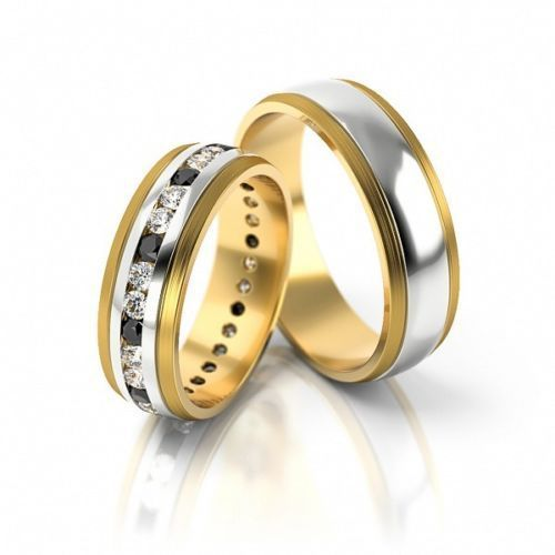 Trauringpaar Hochzeitsringe Gold 585 Bicolor Breite 6 0mm
