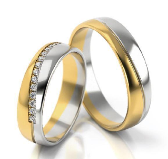 1 Paar Trauringe Hochzeitsringe Gold 750 Hochglanz Damenring Mit