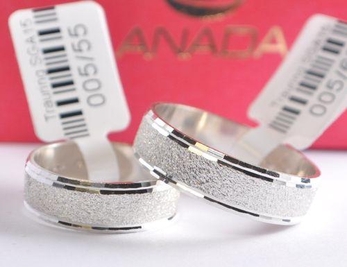 Diamantiert Neuheit! Top Qualität Breite 6mm 1 Paar Trauringe Silber 925