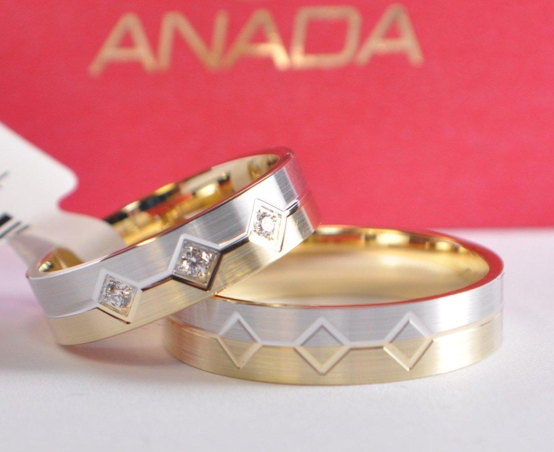1 Paar Trauringe Hochzeitsringe Gold 585 Bicolor Mit 3 Zirkonia B 50mm Top