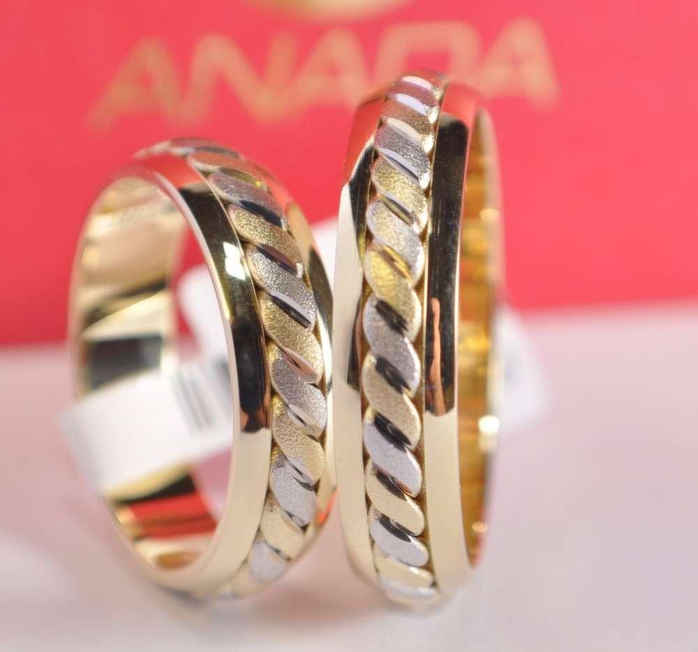1 Paar Trauringe Hochzeitsringe Gold 750 Bicolor Gelbgold Weissgold