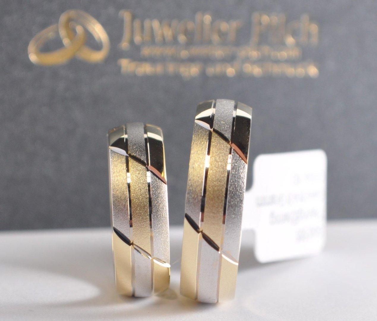 1 Paar Trauringe Hochzeitsringe Gold 585 Bicolor Gelbgoldweißgold B 6mm