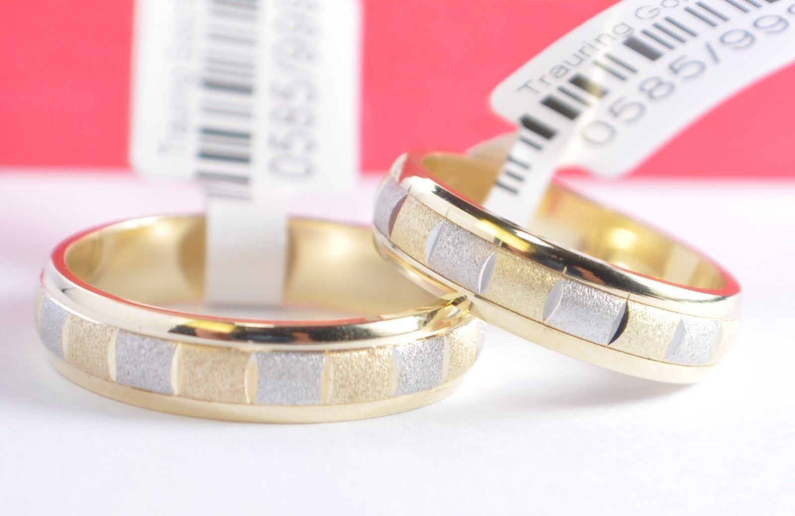 1 Paar Trauringe Hochzeitsringe Gold 585 Bicolor Gelbgoldweißgold B 5mm