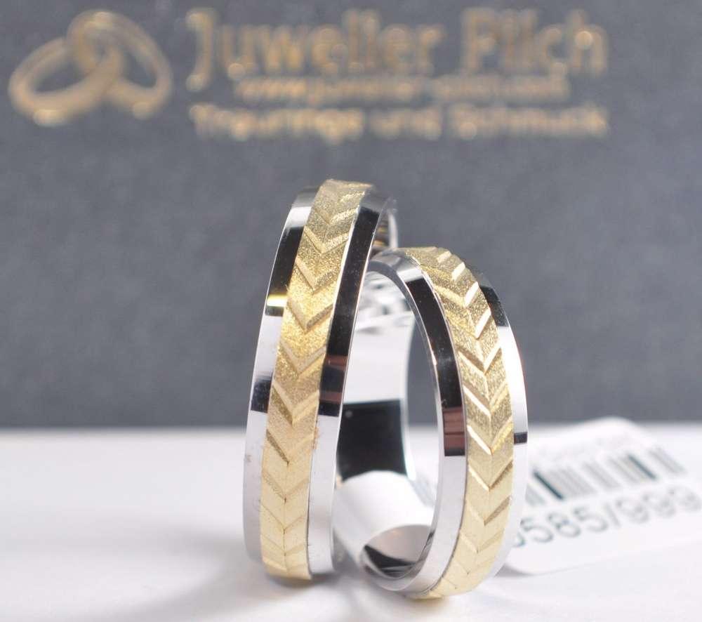 1 Paar Gold 585 Trauringe Hochzeitsringe Bicolor Trauringe und