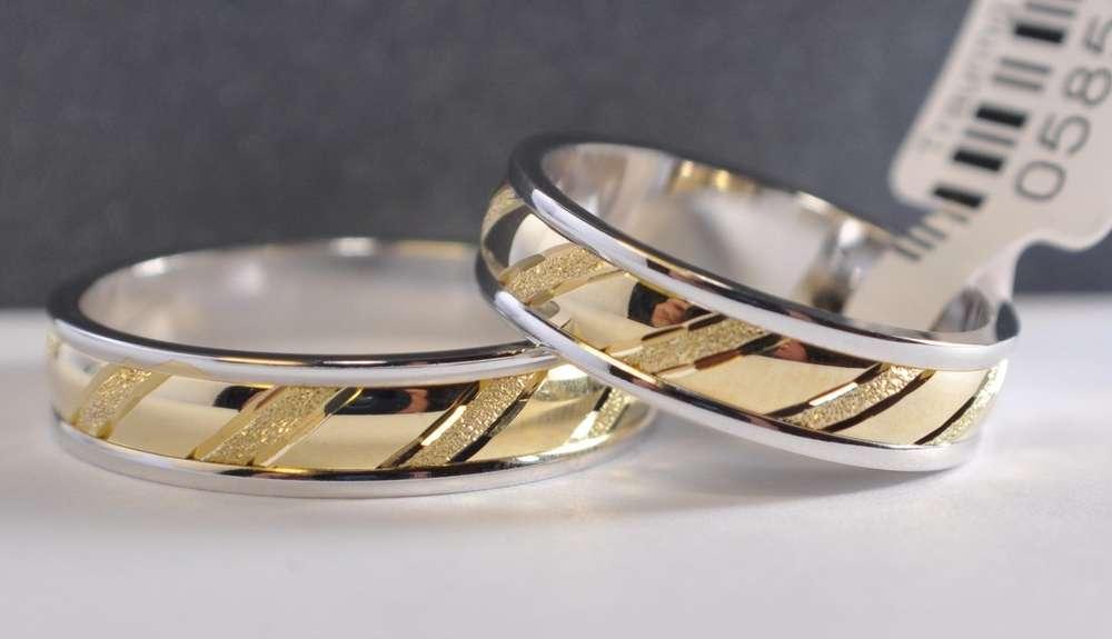 1 Paar Trauringe Hochzeitsringe Gold 585 Bicolor Breite 5mm