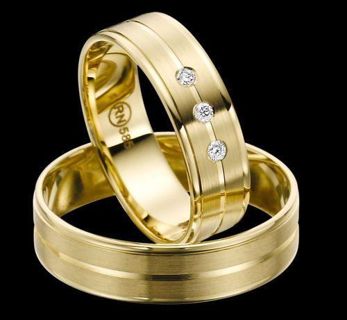 Trauringe - Rubin - EC 84 - R140 - Gold 375, 585 oder 750 - mit 3 Brillanten 0,06ct IF-R