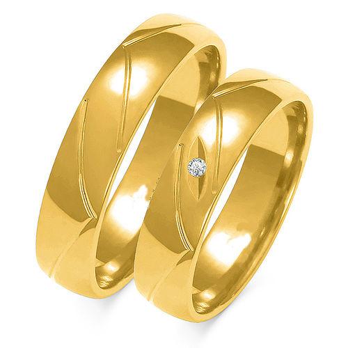 1 Paar Trauringe Gold 333 oder 585 mit Zirkonia - Breite: 5mm