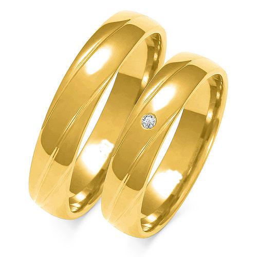 1 Paar Trauringe Gold 333 oder 585 mit Zirkonia - Breite: 4,5mm