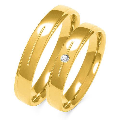 1 Paar Trauringe Gold 333 oder 585 mit Zirkonia - Breite: 4,0mm