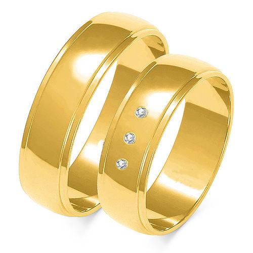 1 Paar Trauringe Gold 333 oder 585 mit Zirkonia - Breite: 4 bis 8mm