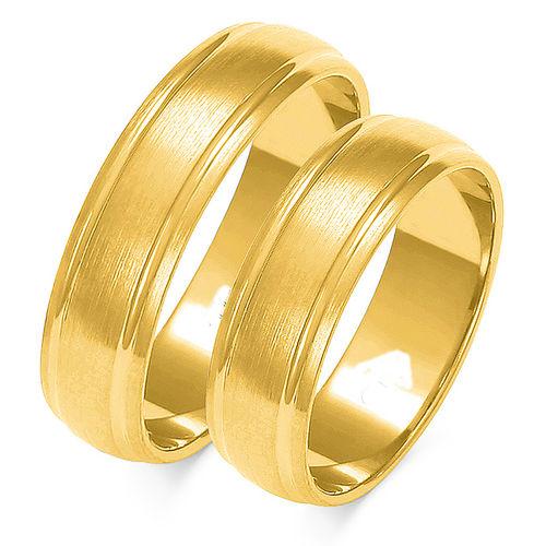 1 Paar Trauringe Gold 333 oder 585 - Längsmatt - Breite: 4 bis 8mm