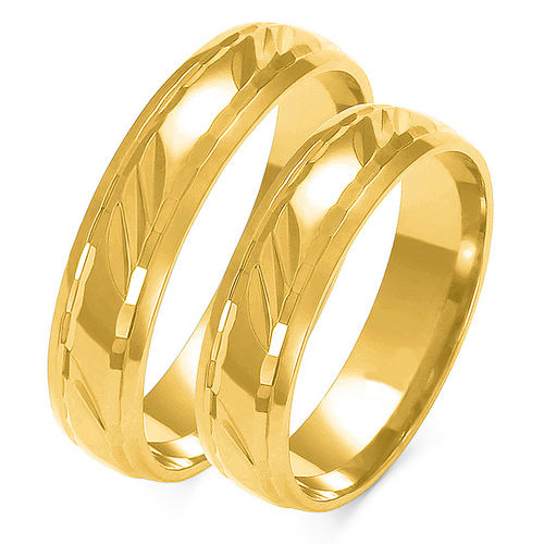 1 Paar Trauringe Gold 333 oder 585 - Diamantiert - Breite: 4 bis 8mm
