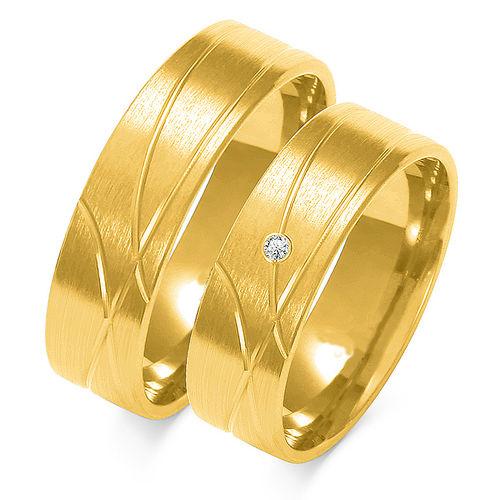 1 Paar Trauringe Gold 333 oder 585 mit Zirkonia - Breite: 6mm