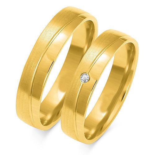 1 Paar Trauringe Gold 333 oder 585 mit Zirkonia - Breite:4,5mm