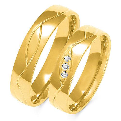 1 Paar Trauringe Gold 333 oder 585 mit Zirkonia - Breite:5mm
