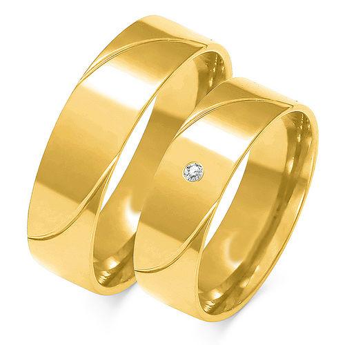 1 Paar Trauringe Gold 333 oder 585 mit Zirkonia - Breite:6mm