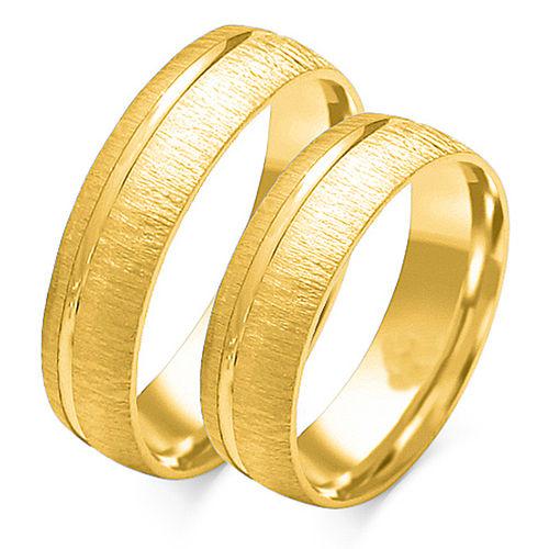 1 Paar Trauringe Gold 333 oder 585 - Quermattiert mit einer Rille